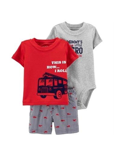 Carters Carter'S Itfaiye 3'Lü Şortlu Bebek Takımı Gri